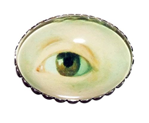 LOVERS EYE BROOCH PIN SilverPltd with GLASS Dome Large Vintage Style Mourning Jewelry