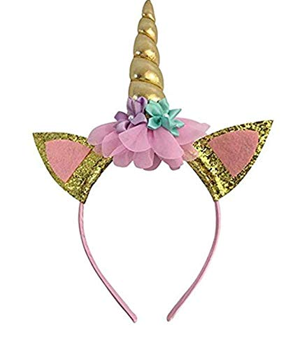 Little Girl Unicorn Horn Head Band for Birthday Decoration Party Costume Dress Gold -