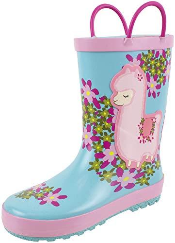 (Rainbow Daze Kids Rain Boots Llama Print,Easy on Handles,Prints,Waterproof,100% Rubber,Little Kid 11/12,Turquoise)