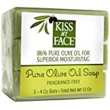 Kiss My Face Pure Olive Oil Soap Fragrance Free -- 3 Bars by Kiss My Face [Beauty]