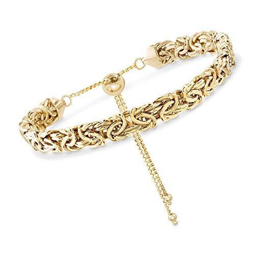 Ross-Simons Certified 14kt Yellow Gold Byzantine Bolo Bracelet ()