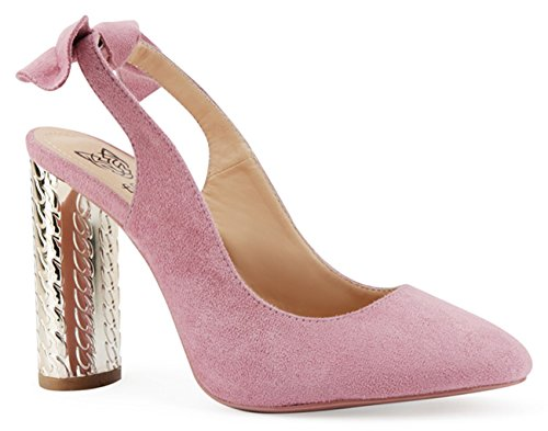 (Beast Fashion Cindy-01 Suede Knotted Slingback Shinny Cylindrical Heel Slip On Pump (7, Pink))