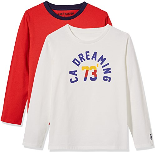 Kid Nation Kids' 2 Pack Long Sleeve Cotton Crew Neck T-Shirt for Boys or Girls S White+Red