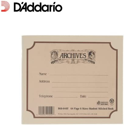 D'Addario B6S-64ST Notenbuch gebunden für Schüler (6 Notenbalken, 64 Blatt)