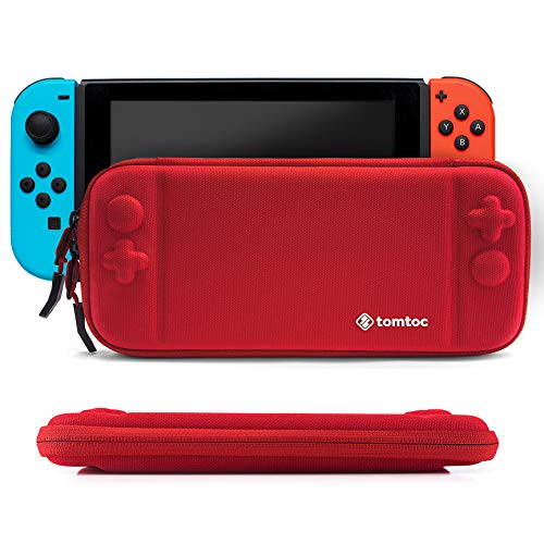 Slim Hard Case Compatible with Nintendo Switch, tomtoc Original Patent Portable Hardshell Travel Carrying Case, fit Switch Console Cover, 8 Game Cartridges Accessory, Red