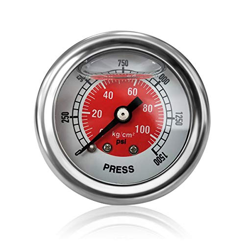 Dracary Nitrous Pressure Gauge Work for NOS OR NX (Red) ()