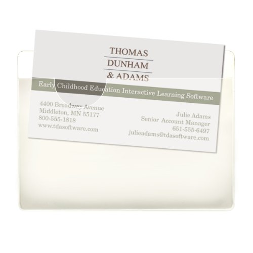 Smead Self-Adhesive Poly Pocket, Business Card Size, Clear, 100 per Box (68123) Clear Business Card Window