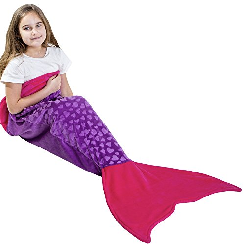 Loved Blanket Heart Mermaid Tail Blanket for Girls Kids Ages 3-12 - Great Gift (Purple/Hot Pink) -