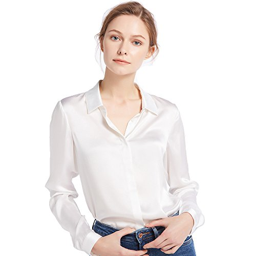 LilySilk Women's 100 Silk Blouse Long Sleeve Lady Shirt 22 Momme Charmeuse Silk White Size ()