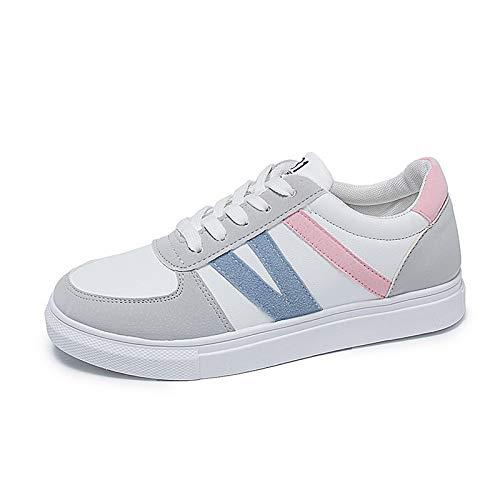 SHOESHAOGE Zapatos De Mujer PU (Poliuretano) Spring &Fall Comfort Sneakers Flat Heel Round Toe Red/Pink Rosado