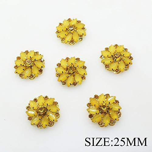 Button Round Gold (20pcs 25mm/1inch Gold Round Acrylic Rhinestone Buttons Flatback for Wedding Embellishment Hair Bow Alloy Buttons DIY Hair Accessory (Yellow))