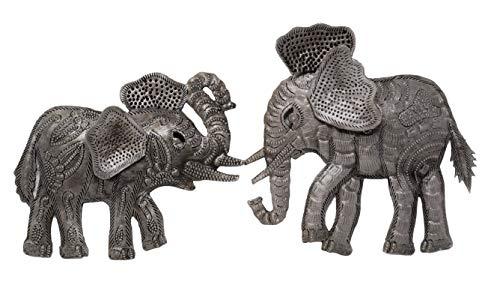 - Good Luck Elephant, Metal Figurines Indoor and Outdoor, Set of 2, Haitian Metal Wall Art, 5 x 6, 6 x 6 Inches