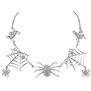 EVER FAITH Halloween Tarantula Spider Web Necklace Austrian Crystal