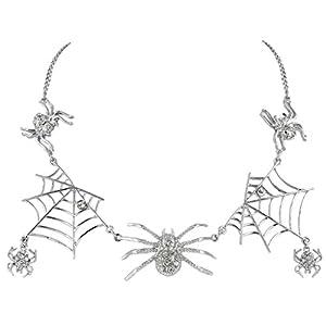EVER FAITH Halloween Tarantula Spider Web Necklace Austrian Crystal