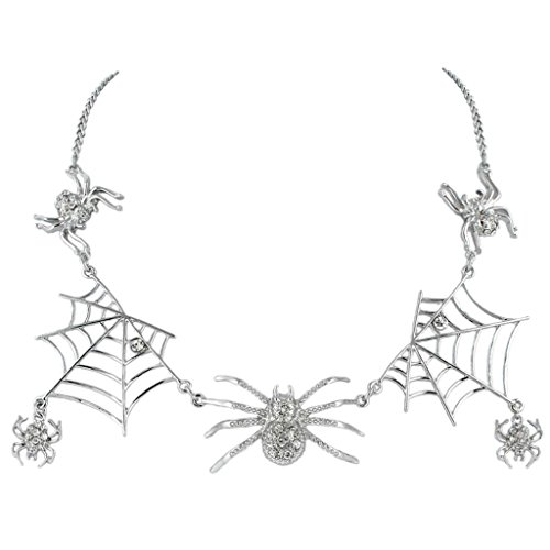 EVER FAITH® Halloween Tarantula Spider Web Necklace Clear Austrian Crystal Silver-Tone (Spiderweb Rhinestone Necklace)