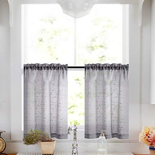 Gray Tier Curtains 24 inch Rod Pocket Kitchen Window Tiers Sheer Cafe Curtain Set Linen Textured Grey Voile Drapes 2 Panels (Gray Curtains Cafe)