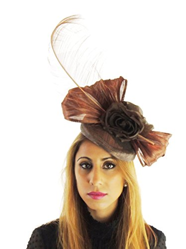 Hats By Cressida Silk Sinamay & Silk Flower Elegant Ladies Ascot Wedding Fascinator Hat Brown by Hats By Cressida