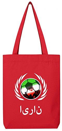 ShirtStreet Wappen World Cup Fussball WM Bio Baumwoll Tote Bag Jutebeutel Stanley Stella Fußball Iran Red