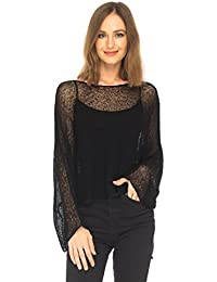 Womens Sheer Blouse Top Knit Lightweight Shrug Sweater Poncho