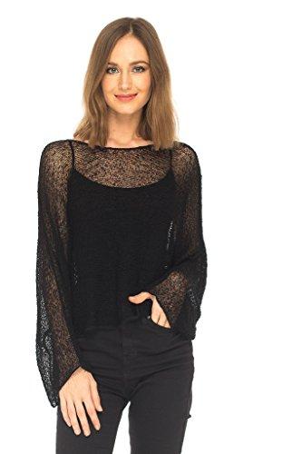 SHU-SHI Womens Knit Lightweight Shrug Sheer Blouse Top Poncho Sweater Black