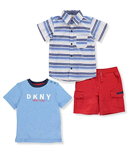 DKNY Baby Boys' 3-Piece Outfit - High Risk Red/Blue, 24 (Dkny Kids Clothing)