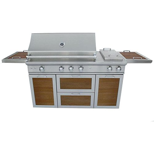 Caliber Crossflame Pro 60-inch Freestanding Propane Gas Grill With Sear Burner And Double Side Burner - Wood Panels / Stainless Steel -