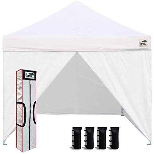 Eurmax 10 x 10 Pop up Canopy Commercial Tent Outdoor Instant Canopies Party Shelter with 4 Zippered Sidewalls and Carry Bag Bonus Canopy Sand Bags(White)
