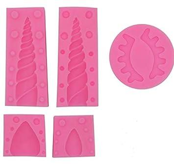 Juego de 5 piezas de moldes de unicornio para fondant de silicona 3D para fiestas, cumpleaños, ...