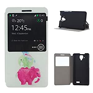 For Lenovo A536 , ivencase Cute Elephant Family [View Window] Pattern PU Leather Texture Protective With Built-in Media Stand Flip Case Cover Perfect Fit for Lenovo A536