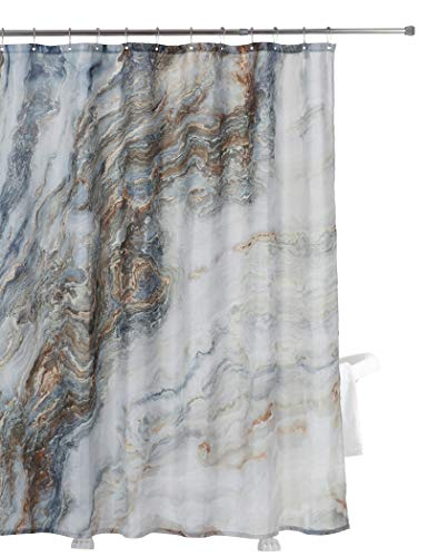- Home Queen Marble Ink Texture Background Pattern Shower Curtain with Metal Hooks, Waterproof Fabric Bathroom Decor Curtain with Weighted Rubber at The Bottom, 71 X 71 Inches