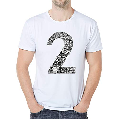 iHPH7 T Shirts for Men tees Men Shirt Men in Men's Clothing Fashion Plant Printing T-Shirt Short Sleeve Digital Printing T-Shirt Top XXL 1- White -