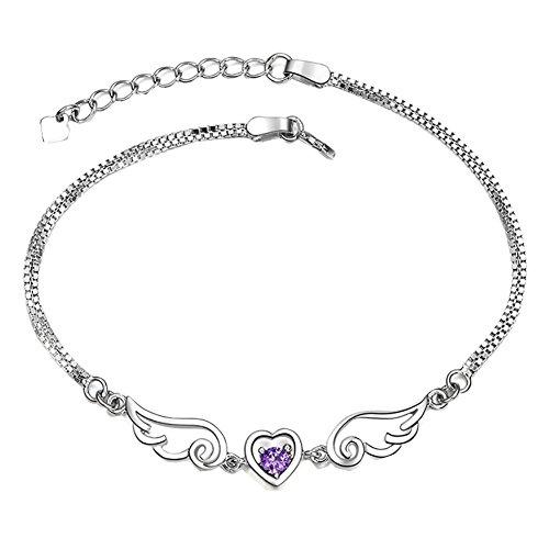 Angel Crystal Silver Bracelets - Bling Stars Silver Heart Love Bracelet Crystal Angel Wings Chain Bracelet Women Jewelry Gift