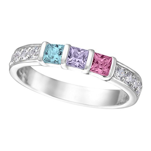 NANA Princess w/side CZs Mothers rings 1 to 6 Simulated Birthstones - Sterling Silver - Size - White 3 Link Ring