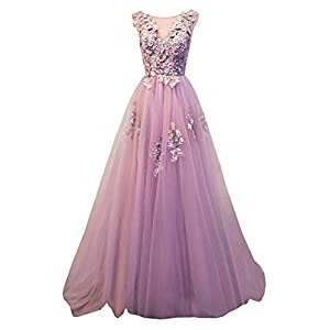 Ever Girl Women's Sweep Lace Appliques Scoop Collar Tulle A-Line Prom Dresses