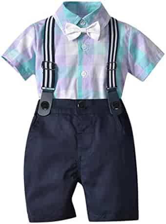 eb283aff1 Fabal Infant Baby Boy Gentleman Suit Bow Plaid Tie Shirt Suspenders Shorts  Outfit Set
