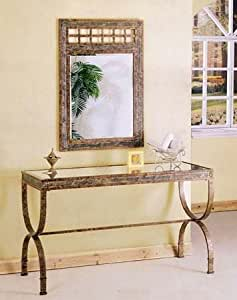 2pc Entry Way Console Table & Mirror Set Brown Metal Frame