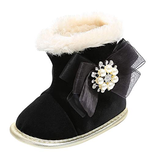 Fheaven Baby Girl Princess Snow Boots Pearl Flower Warm Plush Boots Soft Soft Crib Shoes (12-18 Months, - Princess Snow Boot