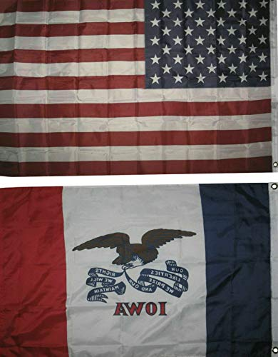 (Mikash Wholesale Combo Lot of 3x5 USA Flag State of Iowa 3x5 2 Flags Banner | Model FLG - 3925)