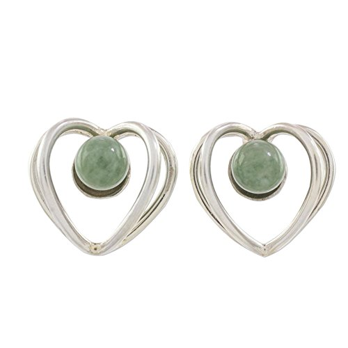 NOVICA Jade .925 Sterling Silver Button Earrings 'The Faces of Love'