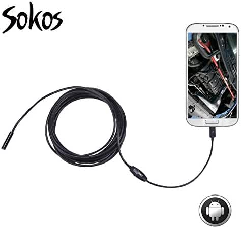 Inspection Camera, Snake Camera, Sokos Micro USB Borescope Waterproof Endoscope for Laptops and USB OTG Compatible Android Smartphones (5M | 16.4ft)