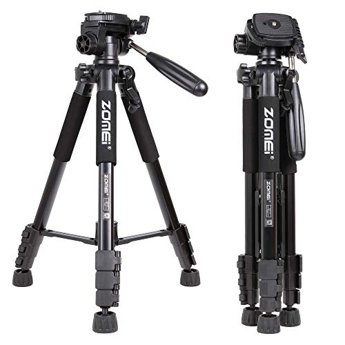 Zomei Q111 55inch Portable Light Weight Traveler Tripod with Pan Head Camera Tripod Professional Camcorder for DV Canon Nikon Sony,Black