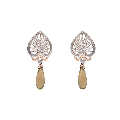 Libertini Boucle d'oreille argent 925 plaque or Rose serti de Diamant et Citrine