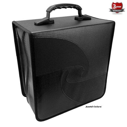 iLogic 520 JUMBO Capacity Quality leather PU Vinyl Compact Disc CD DVD Blu-Ray Nylon Media Wallet Folder Black With Assorted Trim