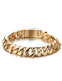 Mens Gold Curb Chain Bracelet in Stainless Steel 8.7 Inches High Polished with Beautiful Shine