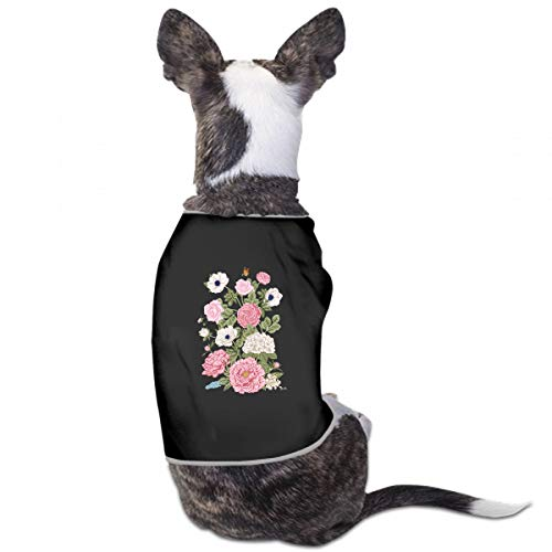 (XUGGL American Dog Clothes Bouquet Flowers Wedding Card Tank Top Soft Cotton for Dog Clothes)