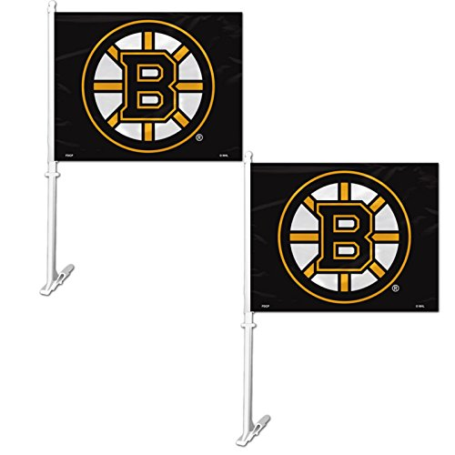 Official National Hockey League Fan Shop Authentic NHL 2-pack Car Flag (Boston Bruins) by Fremont Die Products