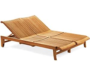 Grade-A Teak Multi Position Sun Double Chaise Lounger Steamer with slide out Tray - Furniture only -- Giva Collection #WHCHGV2