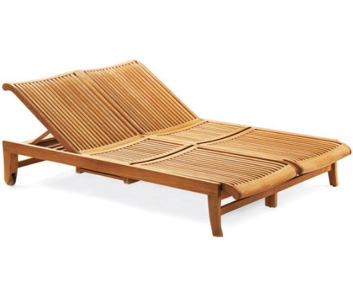 TeakStation Giva Grade A Teak Multi Position Sun Giva Double Chaise Lounger Steamer with slide out Tray - Furniture only #TSCHGV2
