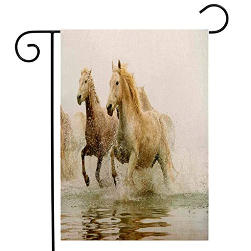 Creative Home Garden Flag Animal Decor Camargue Horses in the Water Ancient Oldest Breed in Southern France Origin Artful Photo White Beige Garden Flag Waterproof for Party Holiday Home Garden ()