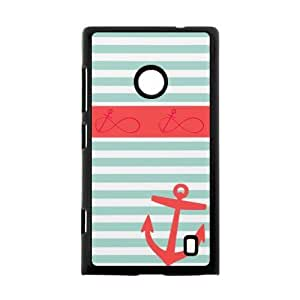 Fashion Design Coral and Navy Monogram BackgroundCase Cover for Nokia Lumia 520- Personalized Hard Cell Phone Back Protective Case Shell-Perfect as gift